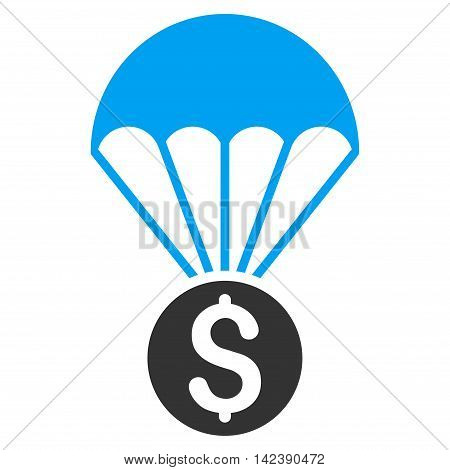 Financial Parachute icon. Vector style is bicolor flat iconic symbol with rounded angles, blue and gray colors, white background.