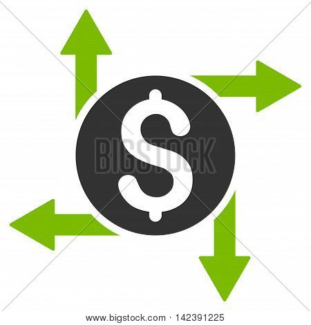 Spend Money icon. Vector style is bicolor flat iconic symbol with rounded angles, eco green and gray colors, white background.