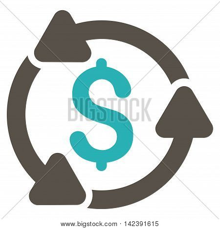 Money Turnover icon. Vector style is bicolor flat iconic symbol with rounded angles, grey and cyan colors, white background.
