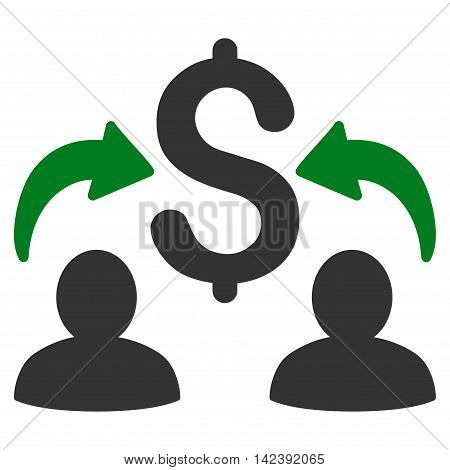 Money Changers icon. Vector style is bicolor flat iconic symbol with rounded angles, green and gray colors, white background.