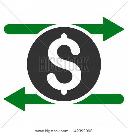 Money Exchange icon. Vector style is bicolor flat iconic symbol with rounded angles, green and gray colors, white background.