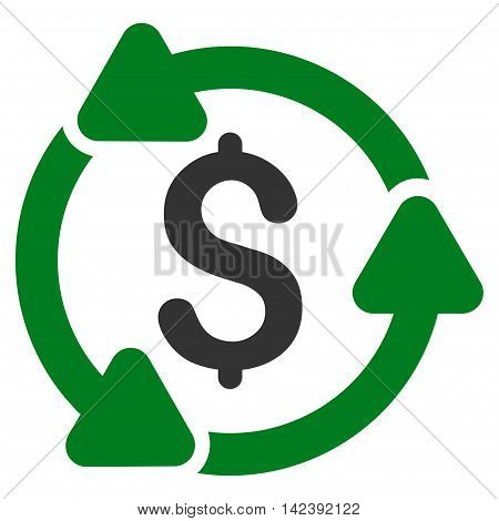 Money Turnover icon. Vector style is bicolor flat iconic symbol with rounded angles, green and gray colors, white background.