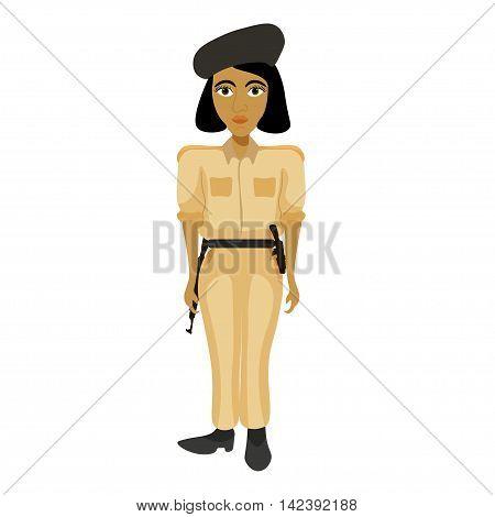 India Policemen Woman With A Bob Hair. Vector Illustration