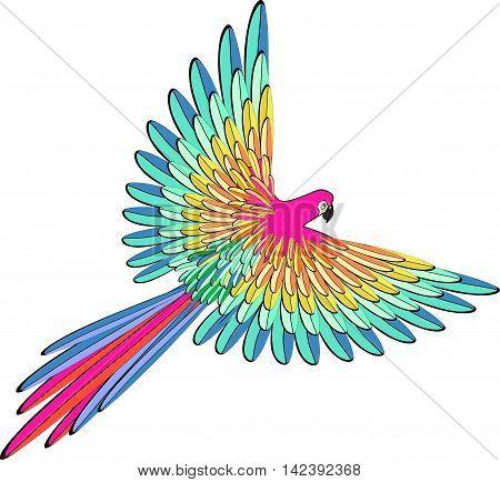 Caribbean Blue The Parrot Flying. Vector Illustration