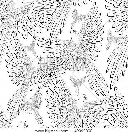 Coloring Of Seamless Pattern Red The Caribbean Parrot Flying. Vector Illustration
