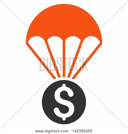Financial Parachute icon. Vector style is bicolor flat iconic symbol with rounded angles, orange and gray colors, white background.
