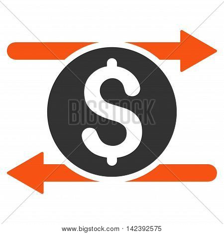 Money Exchange icon. Vector style is bicolor flat iconic symbol with rounded angles, orange and gray colors, white background.