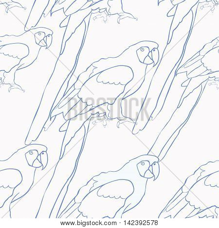 Seamless Pattern Blue Coloring Of The Caribbean Parrot Sitting. Vector Illustration