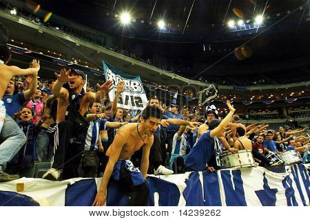 PRAGUE, CZECH REPUBLIC - APRIL 5: Iraklis team supporters watch the volleyball game of Final Four CEV Indesit Champions League at O2 Arena in Prague April 5, 2009