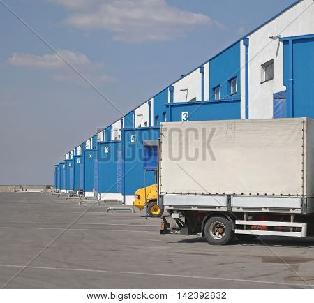Cargo Truck Loading Dock at Distribution Warehouse
