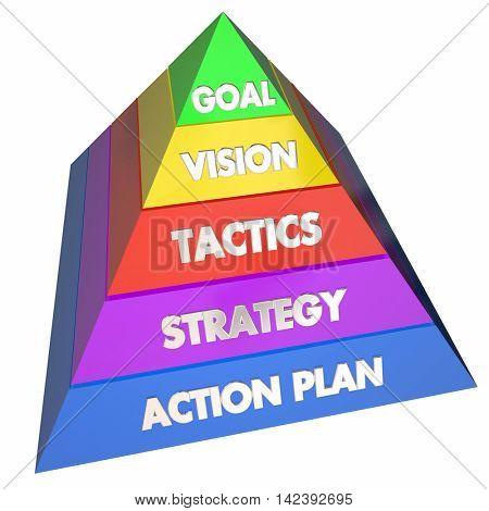 Goal Vision Strategy Tactics Action Plan Pyramid 3d Illustration
