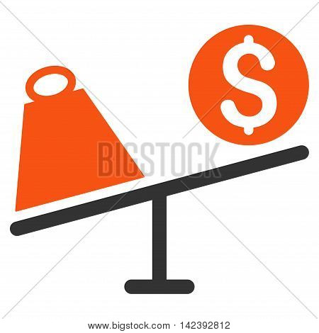 Trade Swing icon. Vector style is bicolor flat iconic symbol with rounded angles, orange and gray colors, white background.