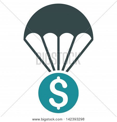 Financial Parachute icon. Vector style is bicolor flat iconic symbol with rounded angles, soft blue colors, white background.