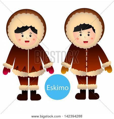 illustrator of Eskimo Boy and Girl vector isolated on white background