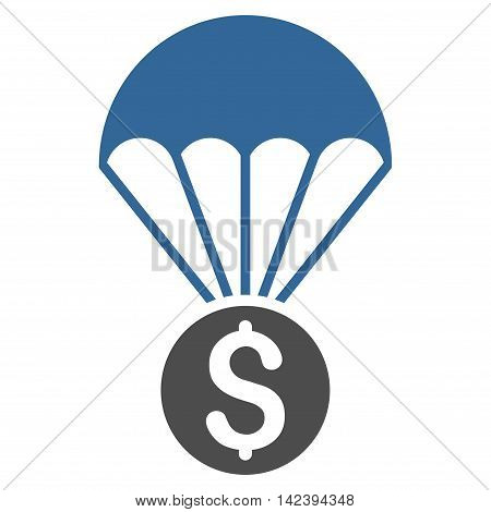 Financial Parachute icon. Vector style is bicolor flat iconic symbol with rounded angles, cobalt and gray colors, white background.