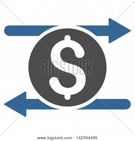 Money Exchange icon. Vector style is bicolor flat iconic symbol with rounded angles, cobalt and gray colors, white background.