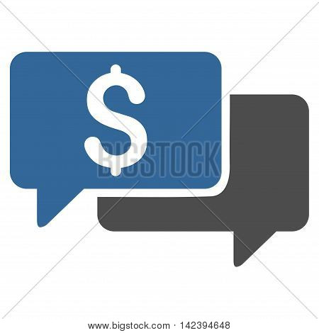 Price Bids icon. Vector style is bicolor flat iconic symbol with rounded angles, cobalt and gray colors, white background.