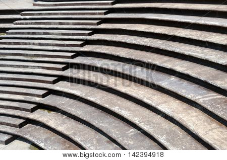 Stairs Architectural background, flat and circular stairs
