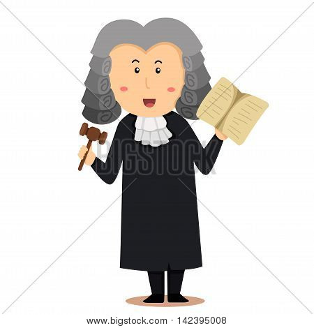 Illustrator of man judge on white background