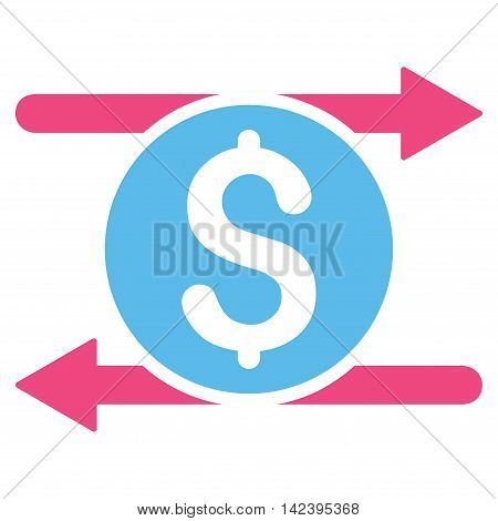 Money Exchange icon. Vector style is bicolor flat iconic symbol with rounded angles, pink and blue colors, white background.