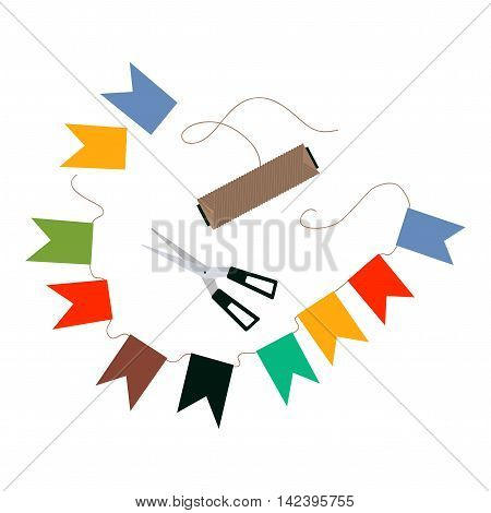 Garland of flags. Vector illustration with paper flags, scissors and thread.