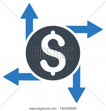 Spend Money icon. Vector style is bicolor flat iconic symbol with rounded angles, smooth blue colors, white background.