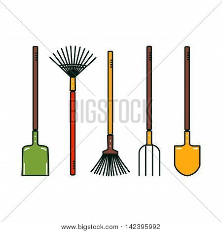 Isolated garden tools. Vector spade, broom, prong, shovel. Farm equipment.