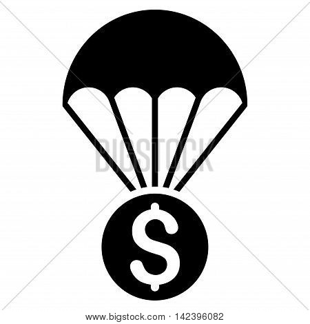 Financial Parachute icon. Vector style is flat iconic symbol with rounded angles, black color, white background.
