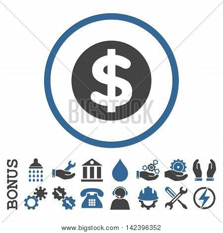 Finance vector bicolor icon. Image style is a flat pictogram symbol inside a circle, cobalt and gray colors, white background. Bonus images are included.