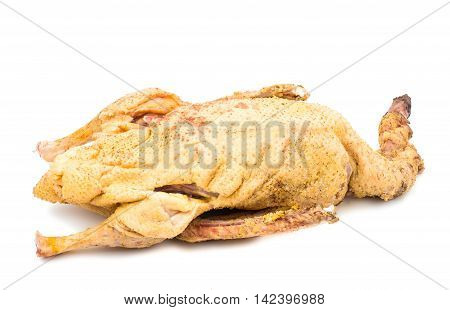 fresh carcass of a goose on a white background