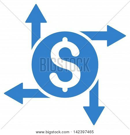 Spend Money icon. Vector style is flat iconic symbol with rounded angles, cobalt color, white background.