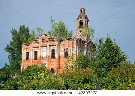 The ruins of an abandoned Church of the exaltation of the cross in the old cemetery. Village Salkovo. Yaroslavl region Russia