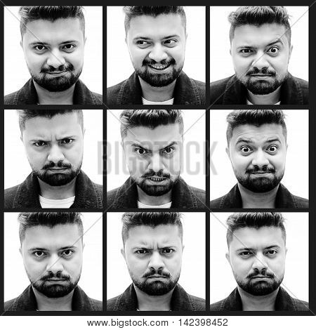 Collage of handsome young man expressing different emotions while standing against white background