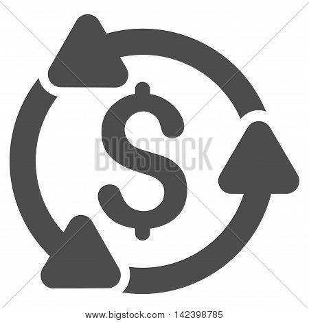 Money Turnover icon. Vector style is flat iconic symbol with rounded angles, gray color, white background.