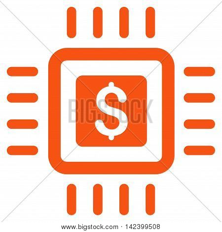 Processor Price icon. Vector style is flat iconic symbol with rounded angles, orange color, white background.