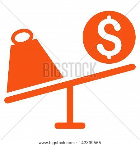 Trade Swing icon. Vector style is flat iconic symbol with rounded angles, orange color, white background.
