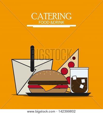 box hamburger pizza soda catering service menu food icon, Vector illustration