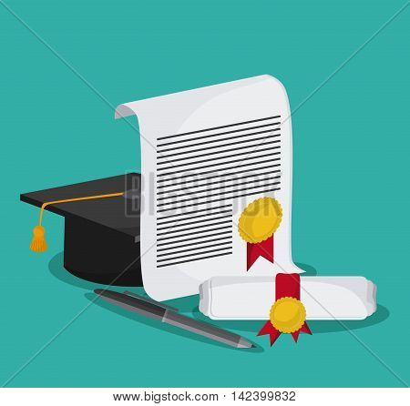 graduation cap diploma pen graduate university icon, Vector illustration
