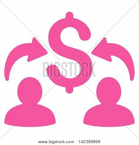 Money Changers icon. Vector style is flat iconic symbol with rounded angles, pink color, white background.