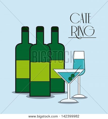 bottle cocktail drink catering service menu food icon, Vector illustration
