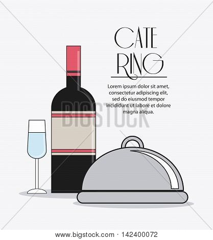 bottle cocktail drink plate catering service menu food icon, Vector illustration