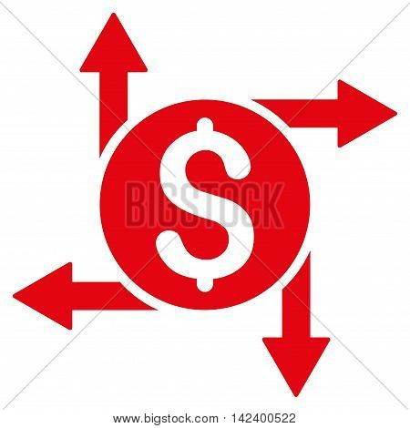 Spend Money icon. Vector style is flat iconic symbol with rounded angles, red color, white background.