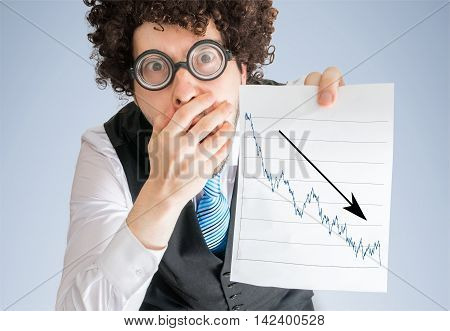 Unhappy Accountant Is Showing Chart Of Bad Investment And Loss P