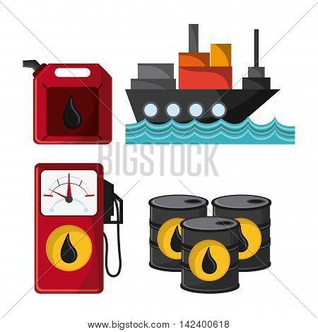 ship dispenser barrel drop oil industry production petroleum icon, vector illustration