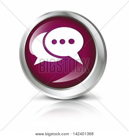 Glossy icon or button with messenger symbol. 3D illustration