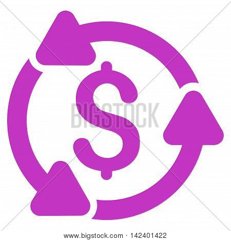 Money Turnover icon. Vector style is flat iconic symbol with rounded angles, violet color, white background.