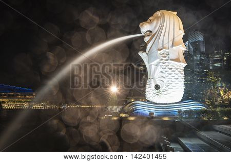 SINGAPORE - AUGUST 9 2016: Night view of Merlion fountain and Marina bay on august 9 2016. Merlion fountain is one of the most famous tourist attraction in Singapore. Symbol of Singapore