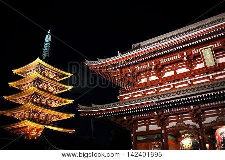 illuminated Asakusa Temple of Tokyo, landmark in Japan