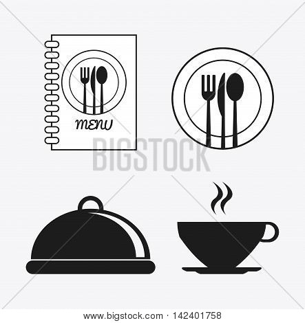 book cutlery plate mug catering service menu food icon. Silhouette illustration
