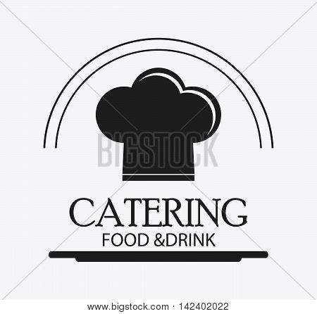 chefs hat catering service menu food icon. Silhouette illustration